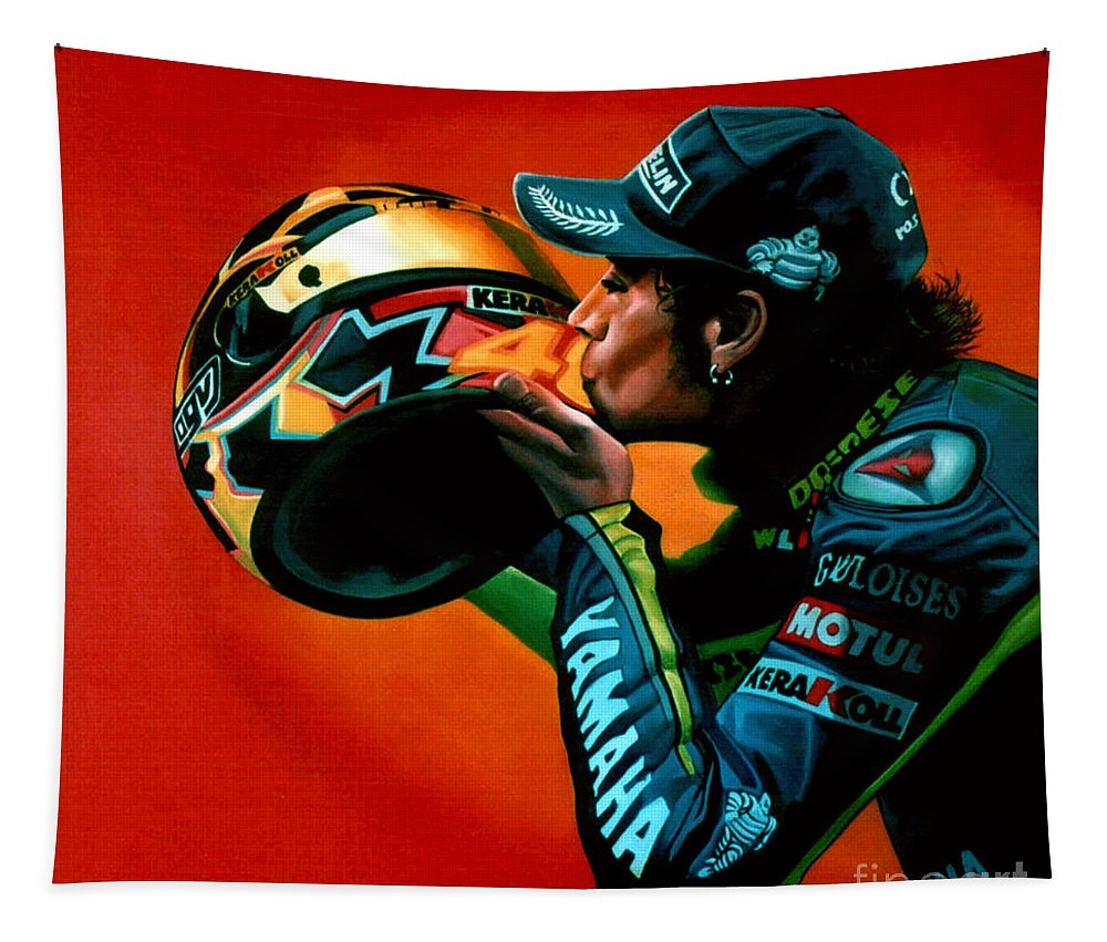 Valentino Rossi Tapestry featuring the painting Valentino Rossi Portrait by Paul Meijering