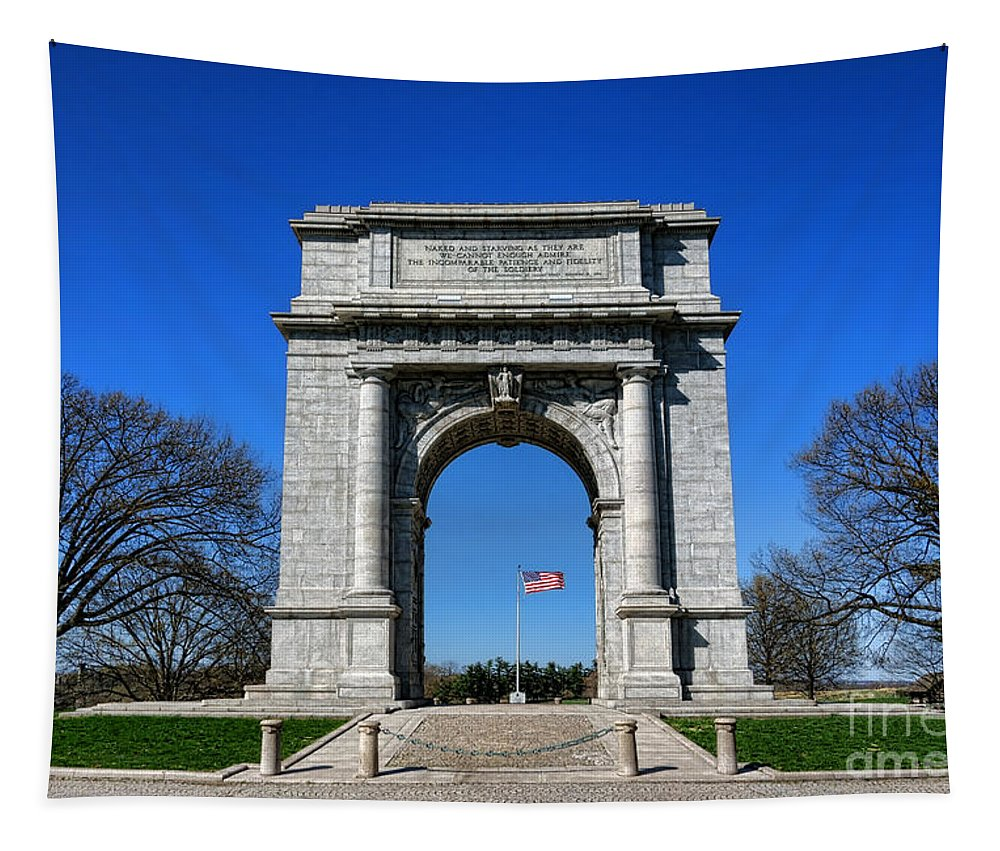 National Tapestry featuring the photograph Valley Forge Park Memorial Arch by Olivier Le Queinec