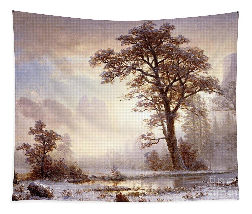 Albert Bierstadt Tapestry featuring the painting Valley Of The Yosemite Snow Fall by Albert Bierstadt