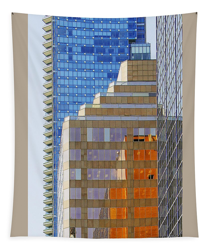 Architecture Tapestry featuring the photograph Vancouver Reflections No 1 by Ben and Raisa Gertsberg
