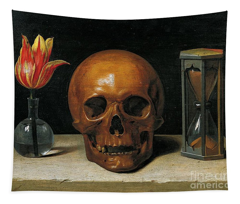 Painting; 17th Century Painting; Mythology; Allegory; Europe; France; Champaigne Philippe De; Death; Vanitas; Dead Tapestry featuring the painting Vanity by Philippe de Champaigne