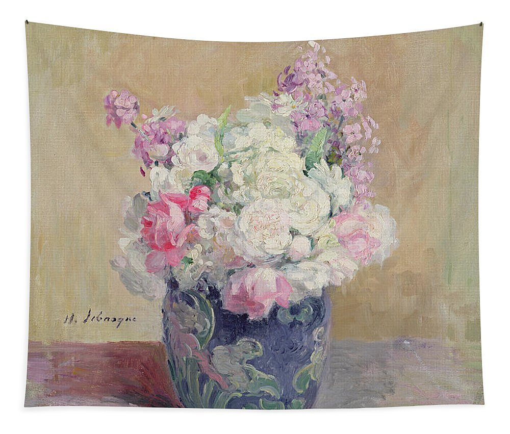 Still-life Tapestry featuring the painting Vase Of Flowers by Henri Lebasque