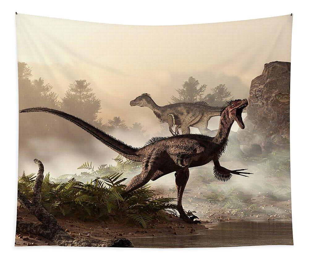Velociraptors Tapestry featuring the digital art Velociraptors Prowling The Shoreline by Daniel Eskridge