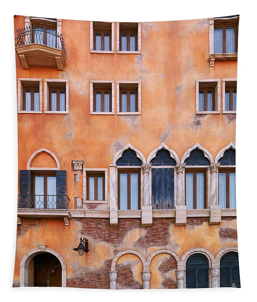 Venetian Tapestry featuring the photograph Venetian Building Wall With Windows Architectural Texture by Oleksiy Maksymenko