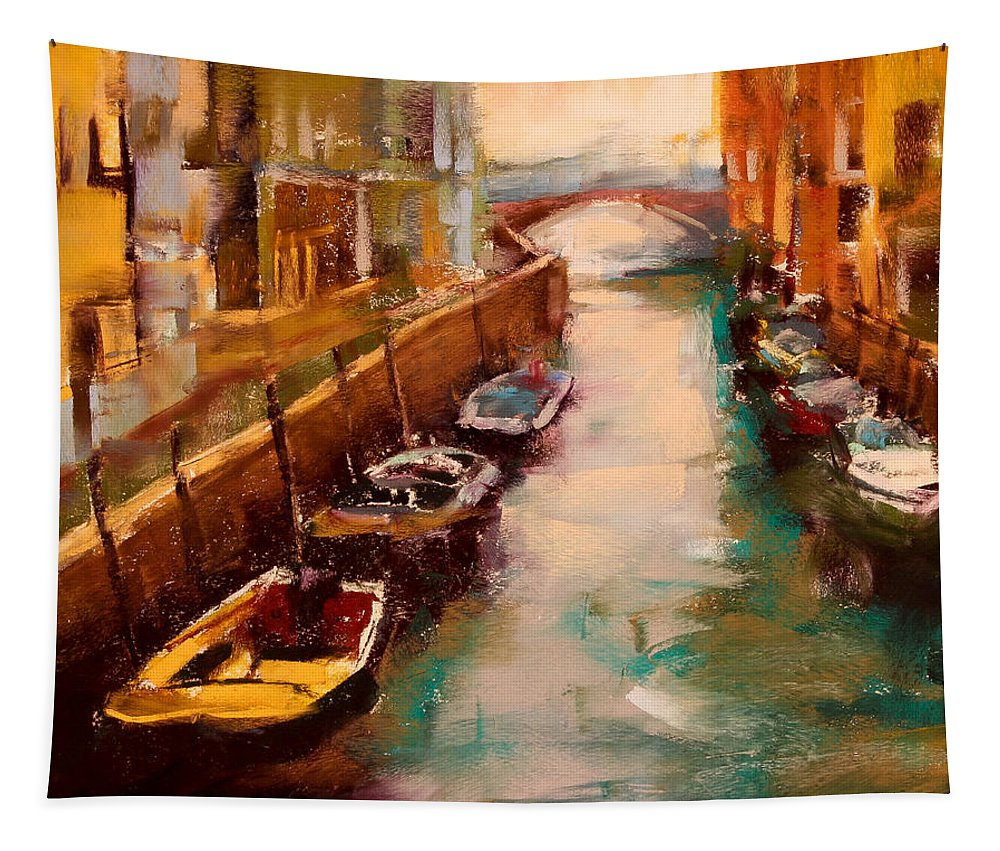 Venice Canal Tapestry featuring the pastel Venice Canal by David Patterson