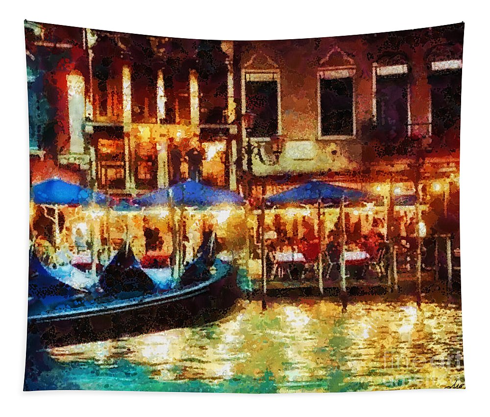 Venice Glow Tapestry featuring the painting Venice Glow by Mo T