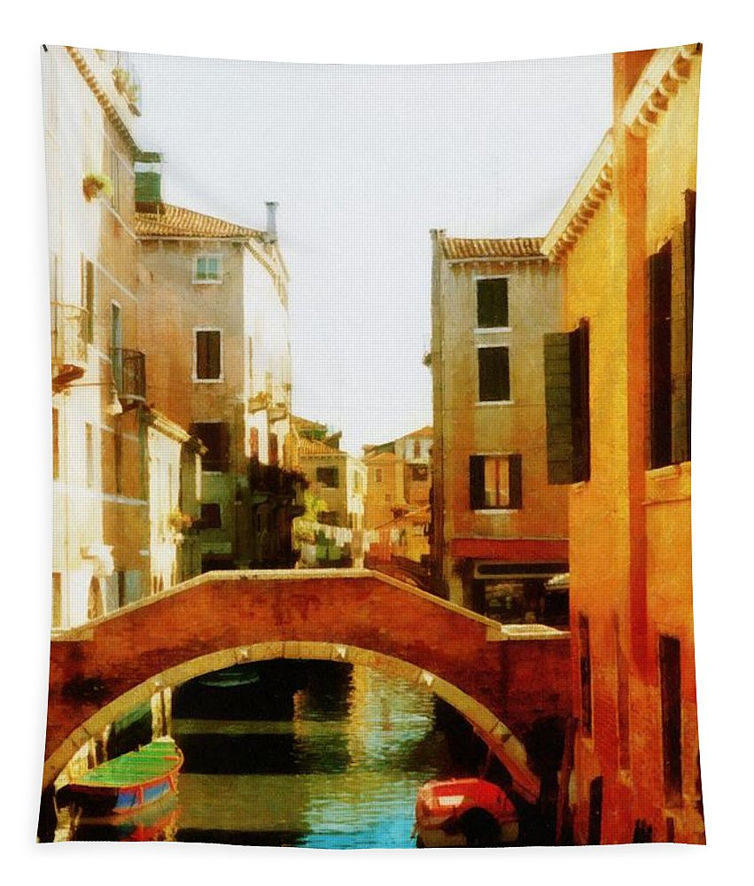 Venice Tapestry featuring the photograph Venice Italy Canal With Boats And Laundry by Michelle Calkins