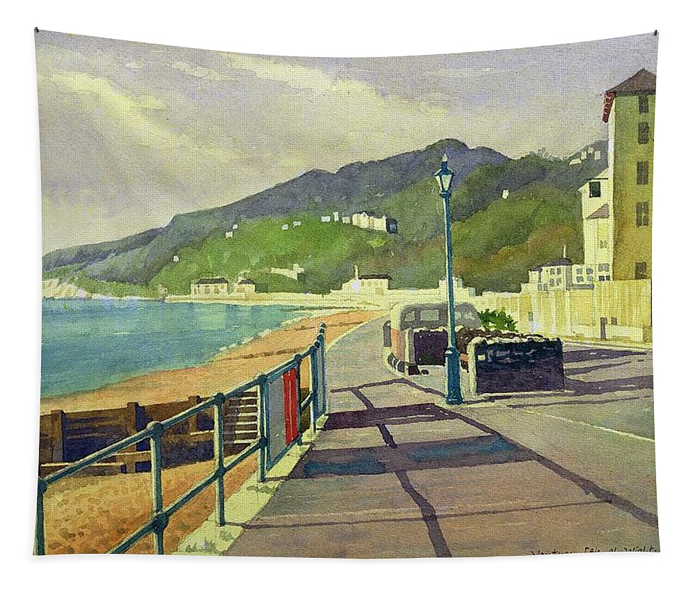 Seaside Tapestry featuring the drawing Ventnor, Isle Of Wight by Osmund Caine