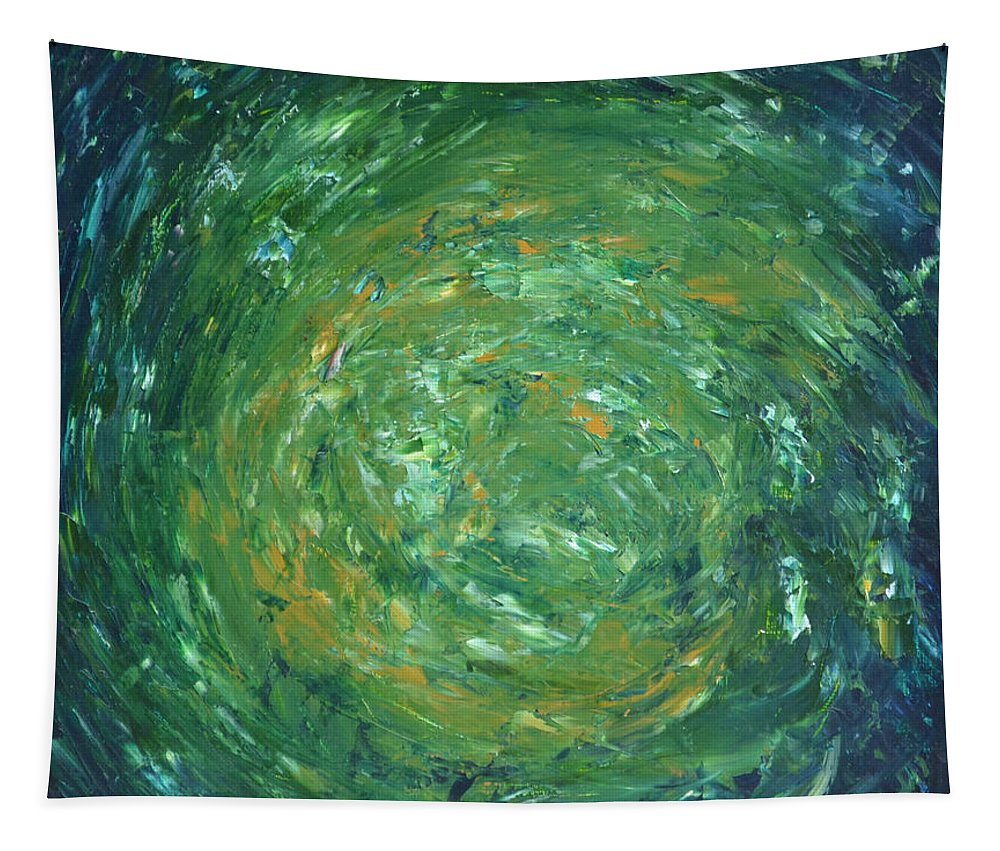 Green Tapestry featuring the painting Verdant Vortex by James Pinkerton