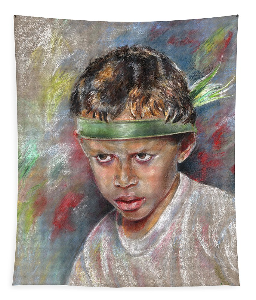 Travel Tapestry featuring the painting Very Young Maori Warrior From Tahiti by Miki De Goodaboom