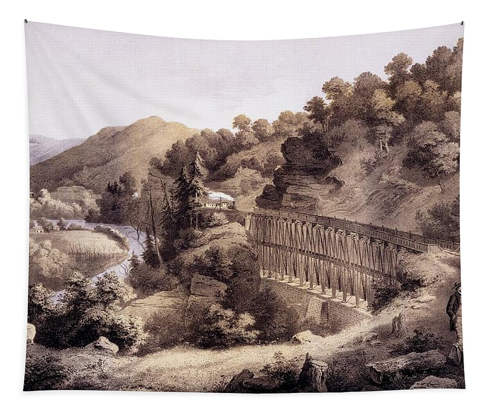 Cheat River Tapestry featuring the drawing Viaduct On Cheat River, From Album by Edward Beyer