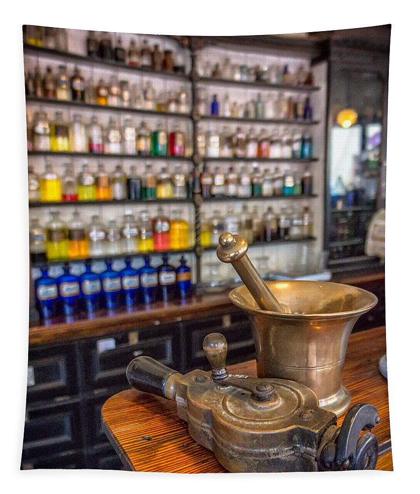 British Tapestry featuring the photograph Victorian Chemist Equipment by Adrian Evans