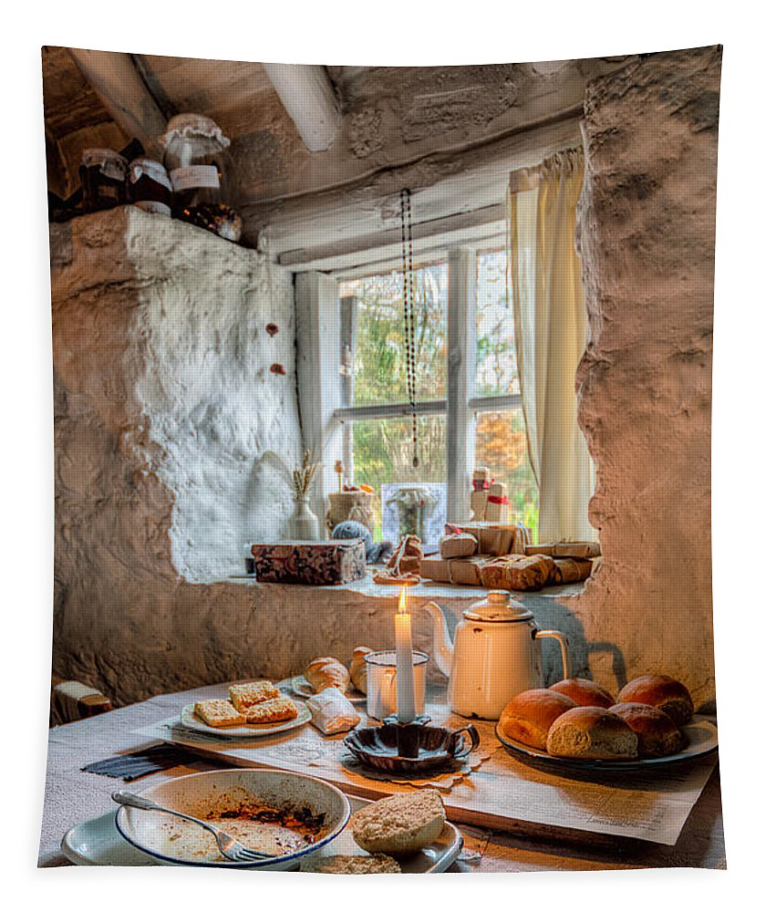 British Tapestry featuring the photograph Victorian Cottage Breakfast V.2 by Adrian Evans