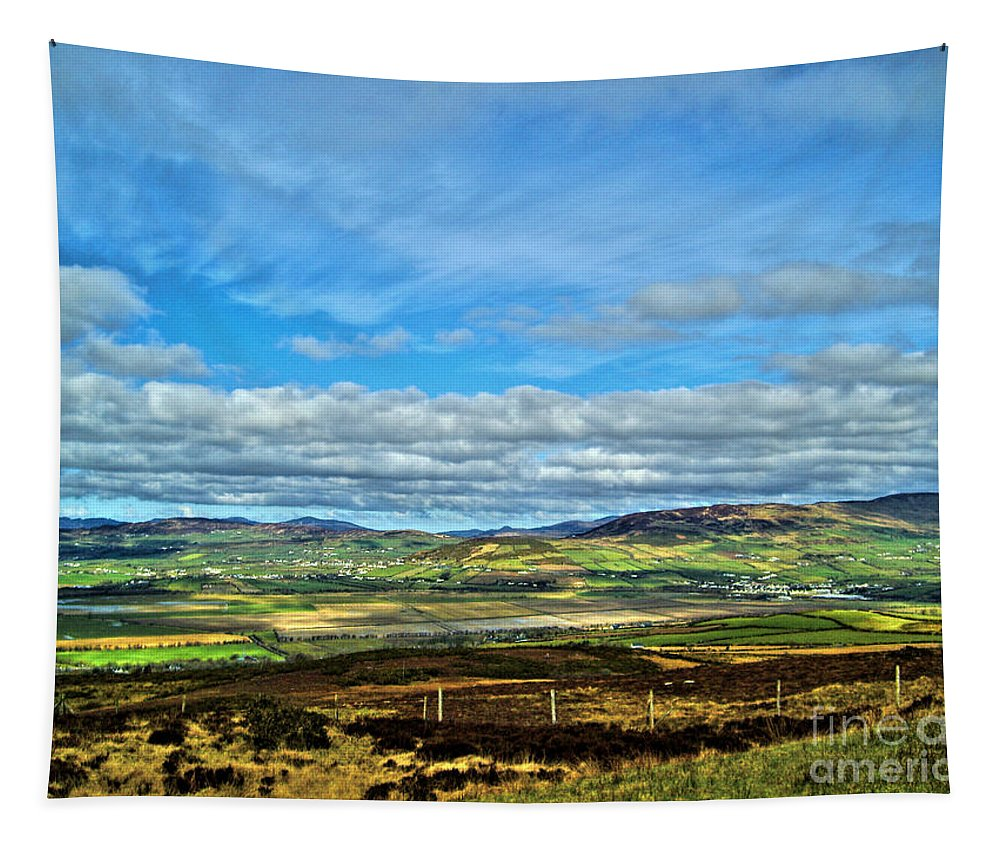 Grianan Of Aileach Tapestry featuring the photograph View From Grianan Of Aileach Fort by Nina Ficur Feenan