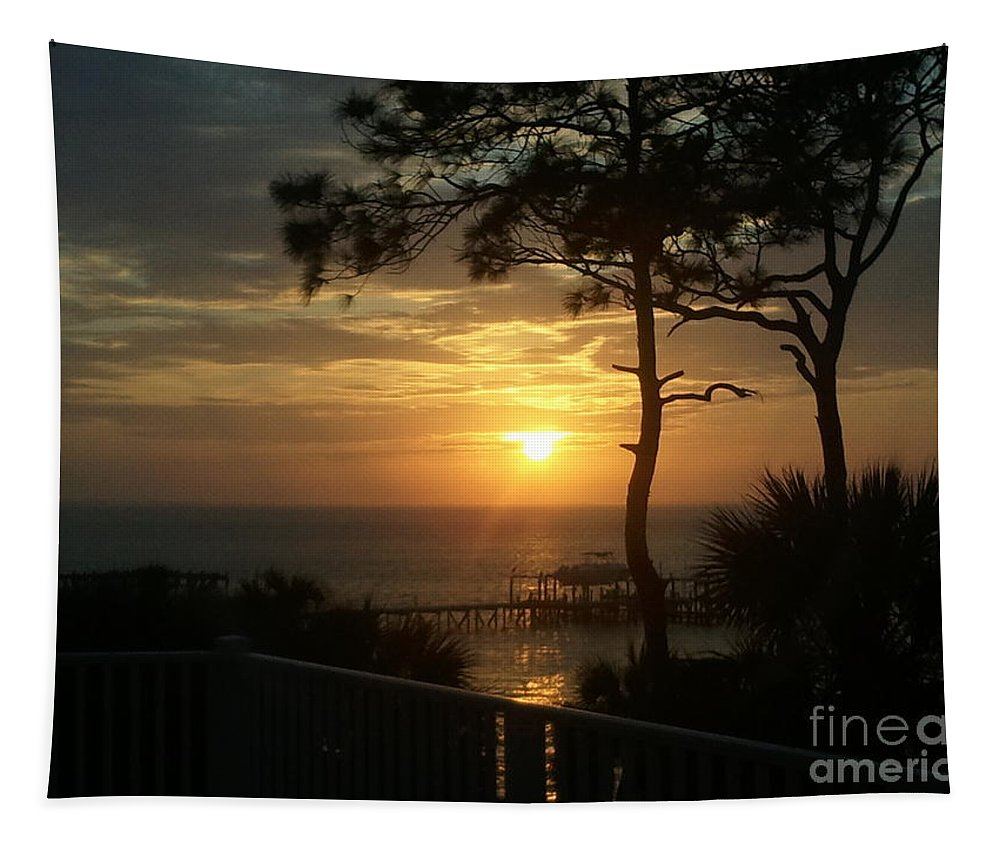 Sunset Tapestry featuring the photograph View From The Deck by Paul Wilford