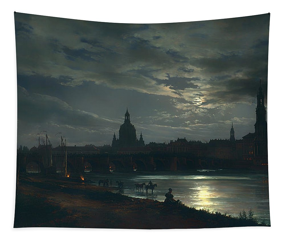 Painting Tapestry featuring the painting View Of Dresden By Moonlight by Mountain Dreams