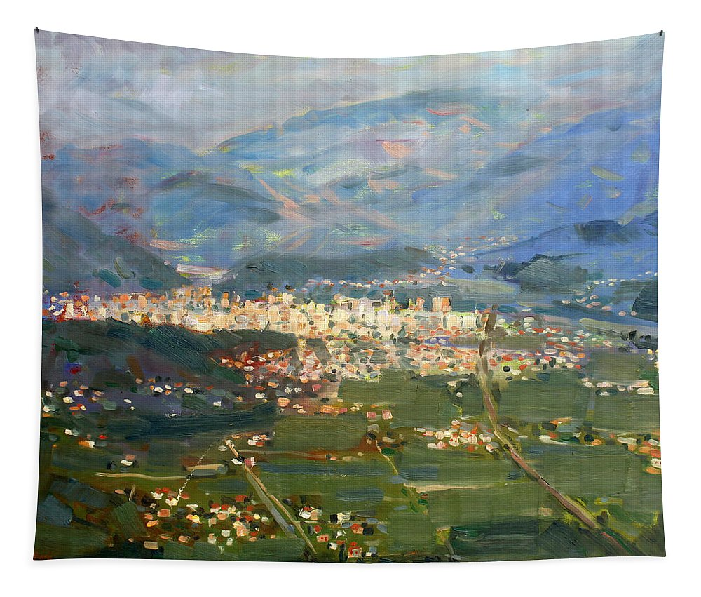 Elbasan Tapestry featuring the painting View Of Elbasan City by Ylli Haruni