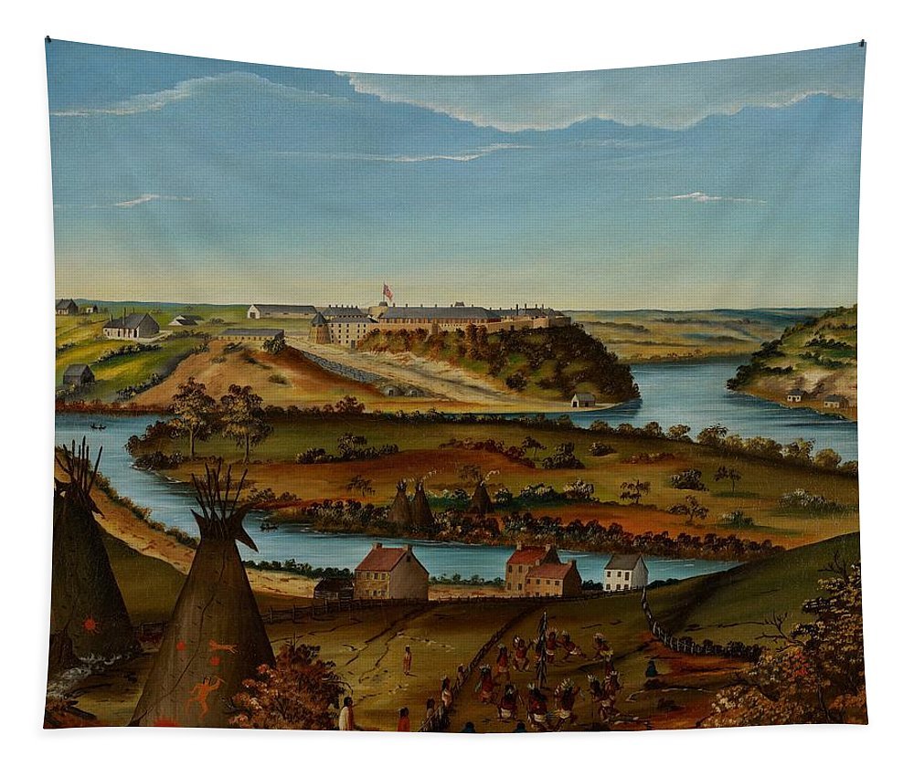 View; Panorama; Fort Snelling; Minnesota; Landscape; Teepee; Tipi; Native Americans; Colonial; Camp; Military; Mississippi; River; America; American; Usa; Naive; Red Indians; Houses; Buildings; Exterior; View; Panorama; Fort Snelling; Minnesota; Landscape; Teepee; Tipi; Native Americans; Colonial; Camp; Military; Mississippi; River; America; American; Usa; Naive; Red Indians; Houses; Buildings; Exterior; Tent Tapestry featuring the painting View Of Fort Snelling by Edward K Thomas