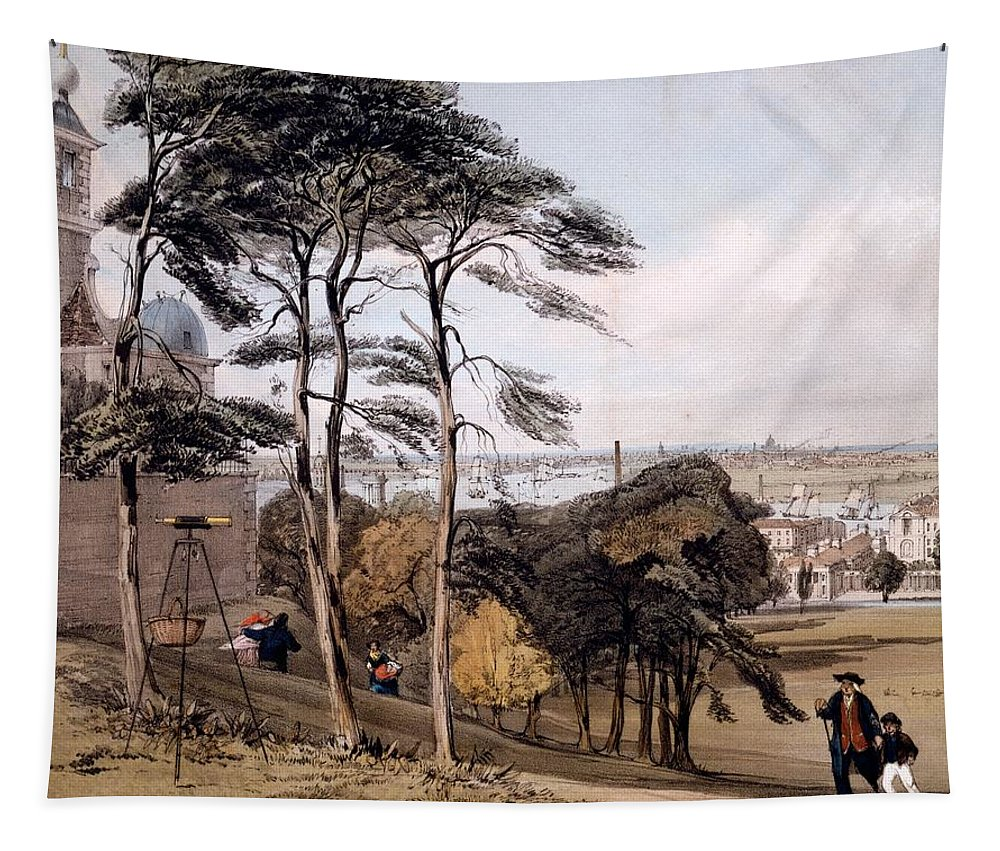 View Of London From Greenwich Park Tapestry featuring the drawing View Of London From Greenwich Park, 1842 by Thomas Shotter Boys