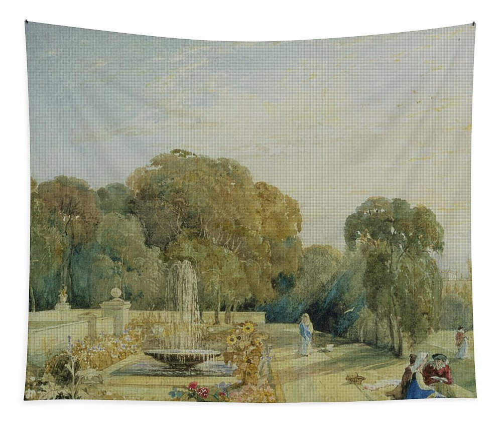 Landscape Tapestry featuring the drawing View Of The Gardens At Chatsworth by Frances Elizabeth Swinburne