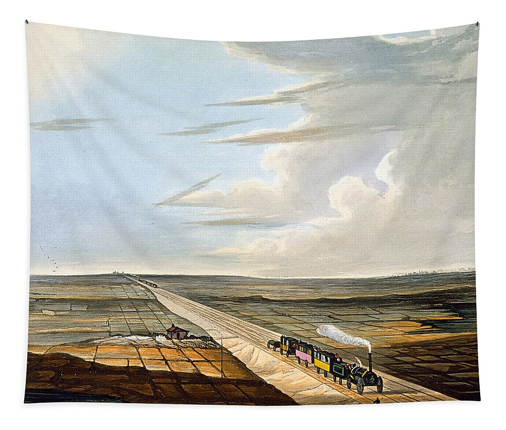 Steam Engine Tapestry featuring the drawing View Of The Railway Across Chat Moss by Thomas Talbot Bury
