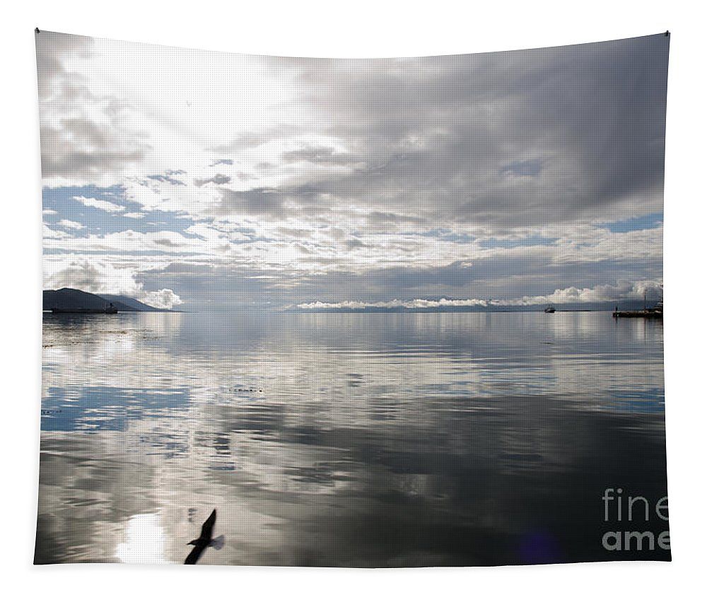 Beagle Channel Tapestry featuring the photograph View Over The Ushuaia Bay In Tierra Del Fuego by Ralf Broskvar