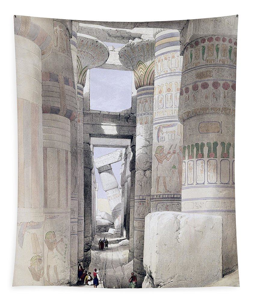 Ruins Tapestry featuring the drawing View Through The Hall Of Columns by David Roberts