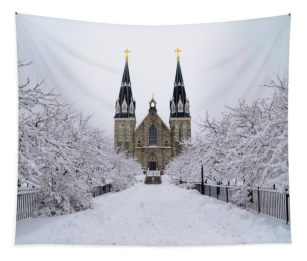 Villanova Tapestry featuring the photograph Villanova University In The Snow by Bill Cannon