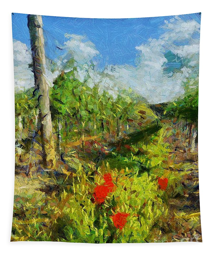 Landscapes Tapestry featuring the painting Vineyard And Poppies by Dragica Micki Fortuna