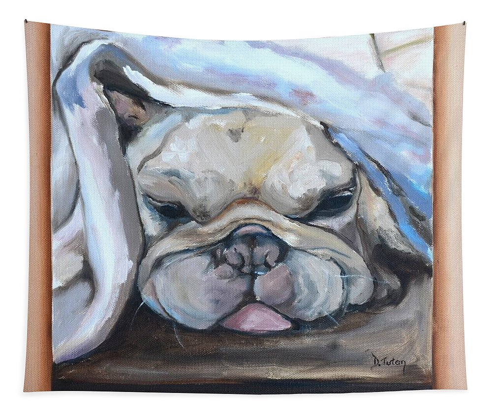 Bulldog Tapestry featuring the painting Vinnie by Donna Tuten