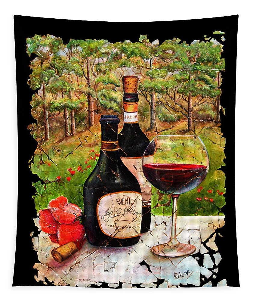 Fresco Tapestry featuring the painting Vino by OLena Art Brand