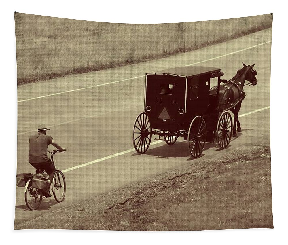 Amish Horse And Buggy In Ohio Tapestry featuring the photograph Vintage Amish Buggy And Bicycle by Dan Sproul