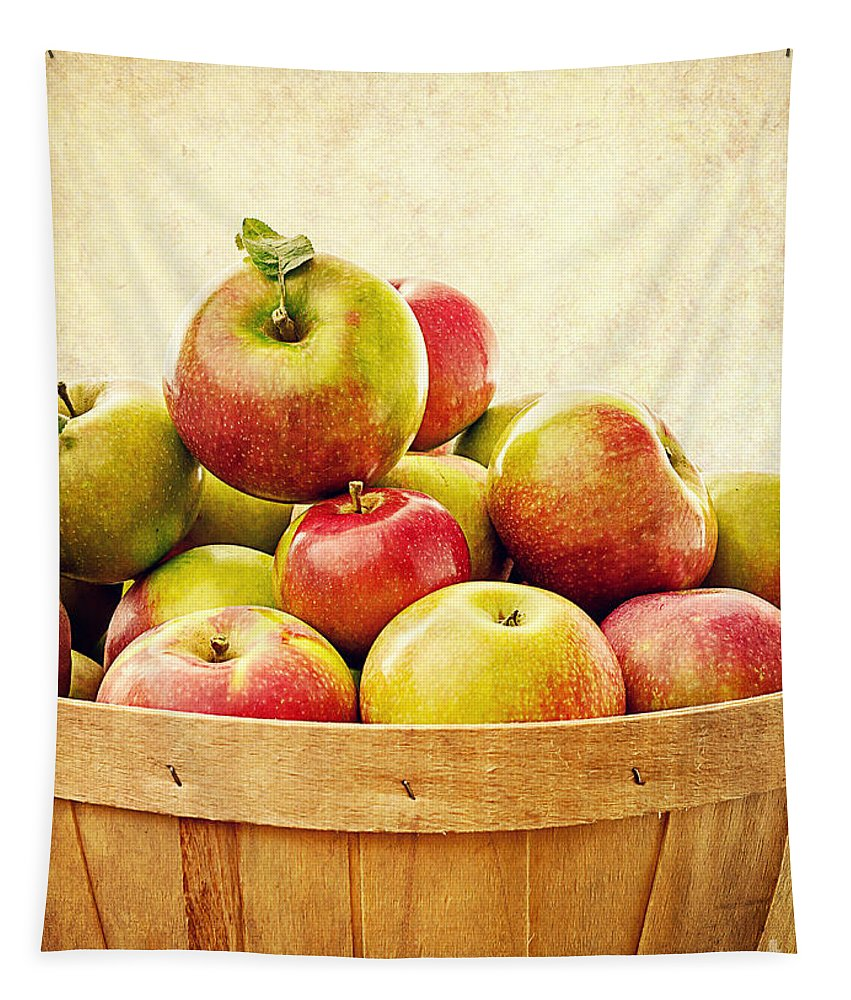 Fruit Tapestry featuring the photograph Vintage Apple Basket by Edward Fielding