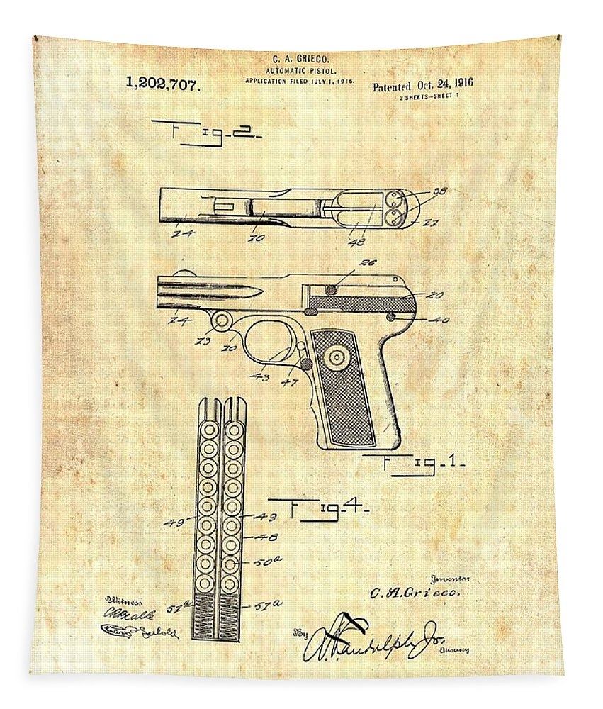 Patent Tapestry featuring the drawing Vintage Automatic Pistol Patent by Mountain Dreams