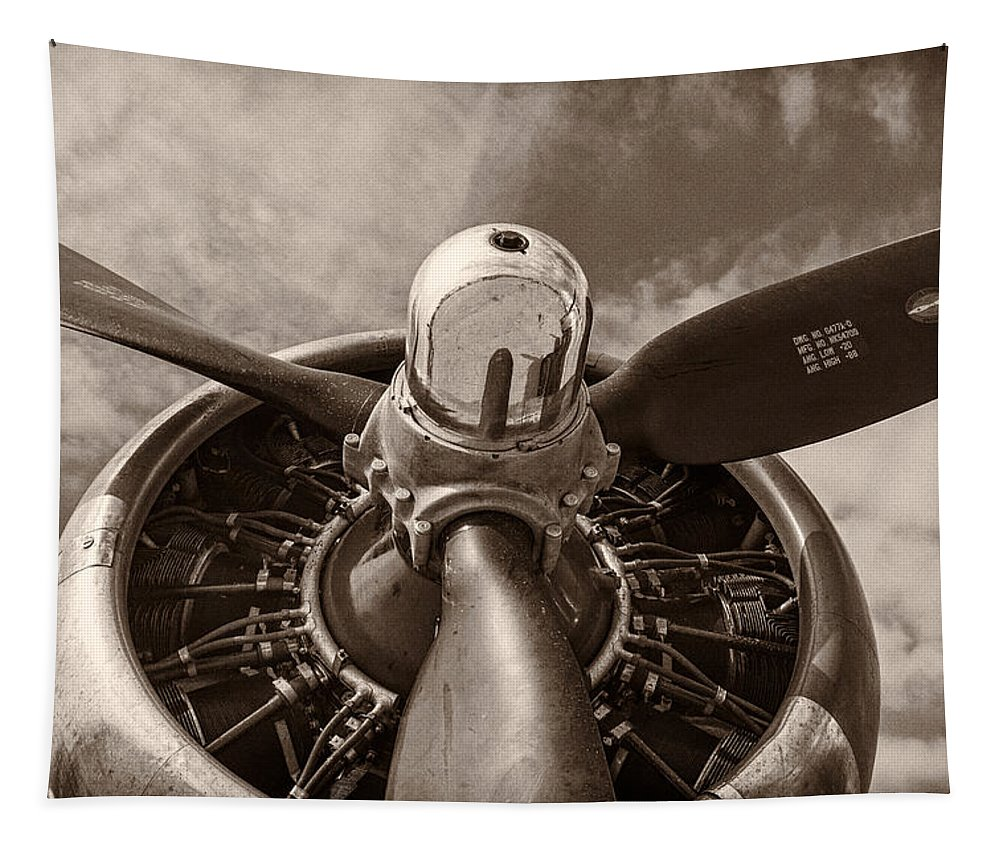 3scape Tapestry featuring the photograph Vintage B-17 by Adam Romanowicz