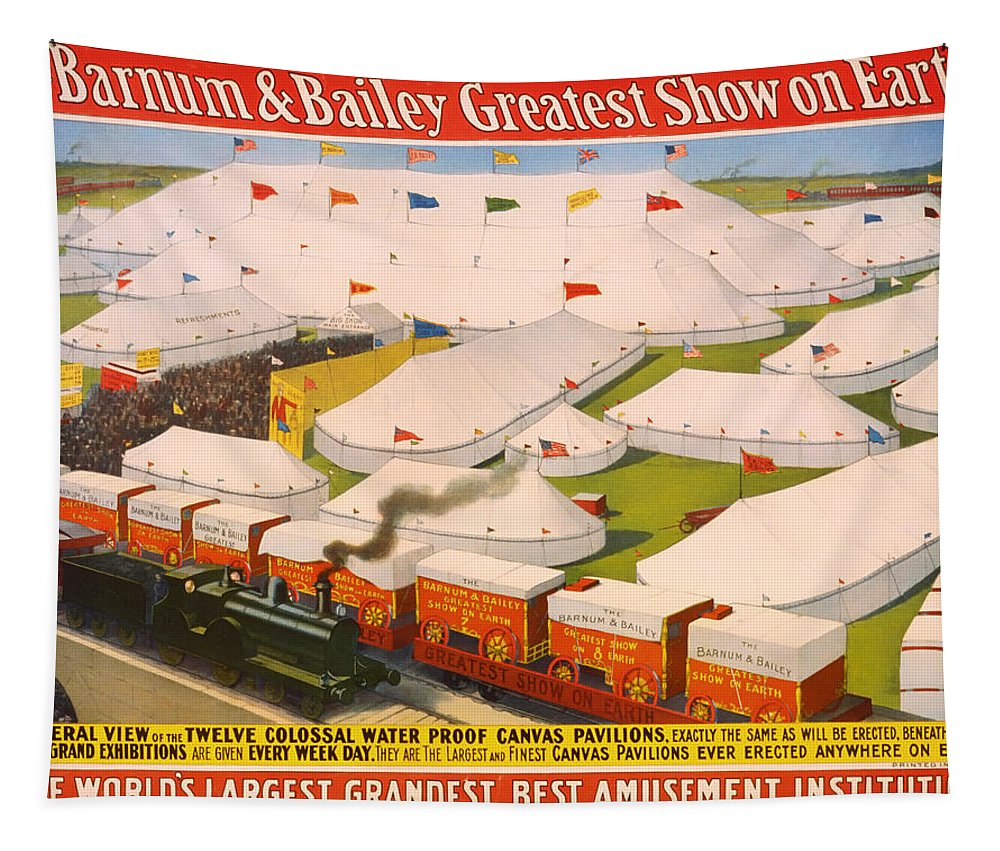 Poster Tapestry featuring the photograph Vintage Barnum And Bailey Poster by Mountain Dreams