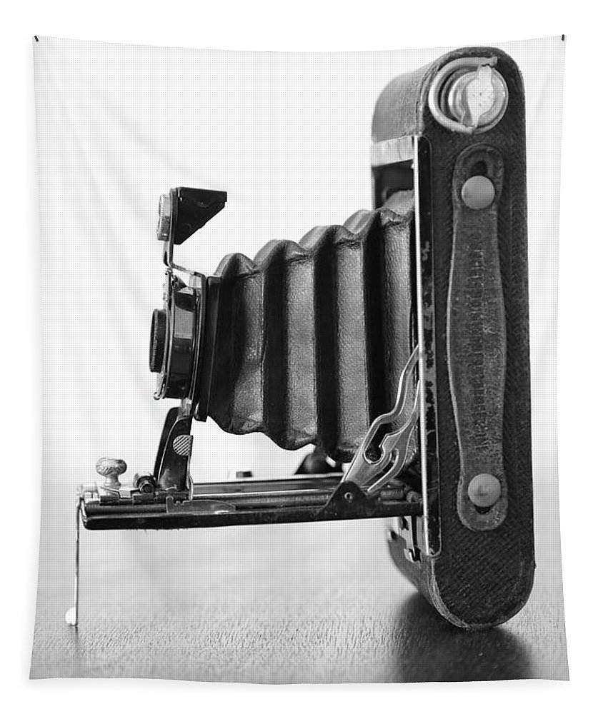 Photography Tapestry featuring the photograph Vintage Camera - Black And White by Carol Groenen