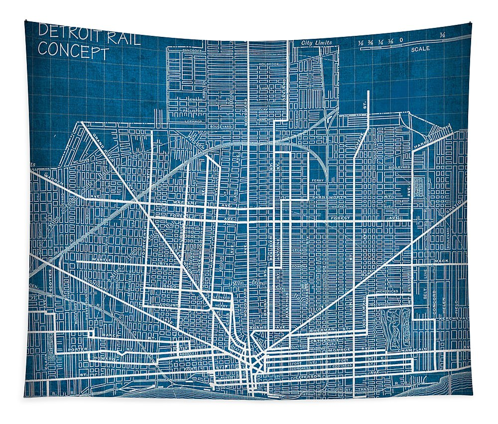 Vintage Tapestry featuring the mixed media Vintage Detroit Rail Concept Street Map Blueprint Plan by Design Turnpike
