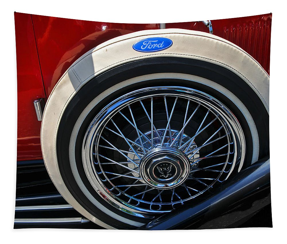 Car Tapestry featuring the photograph Vintage 1931 Ford Phaeton Spare Tire by Mike Martin