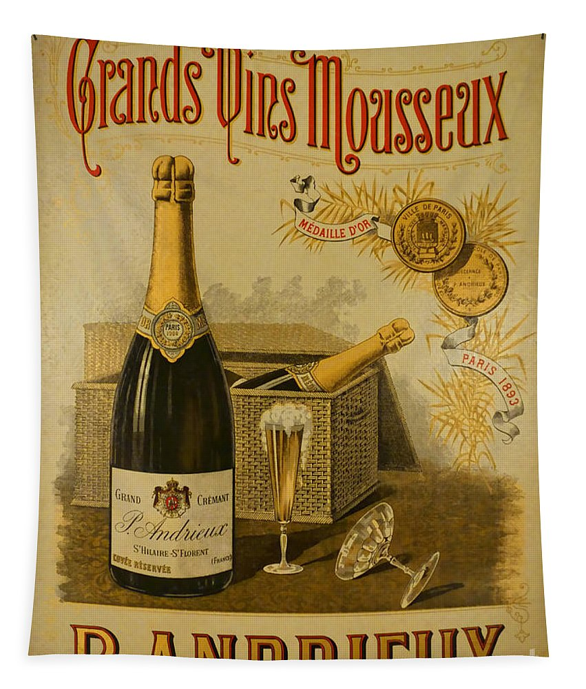 French Tapestry featuring the photograph Vintage French Poster Andrieux Wine by Olivier Le Queinec