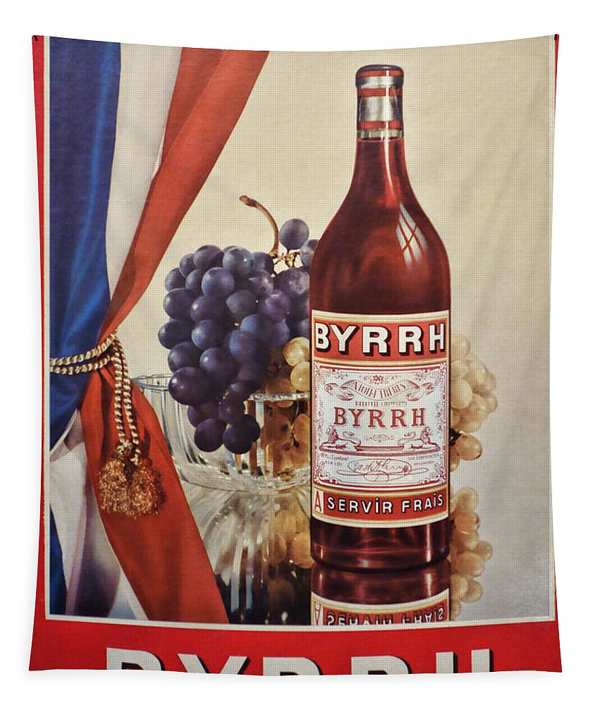 Advertisement Tapestry featuring the photograph Vintage French Poster Byrrh by Olivier Le Queinec