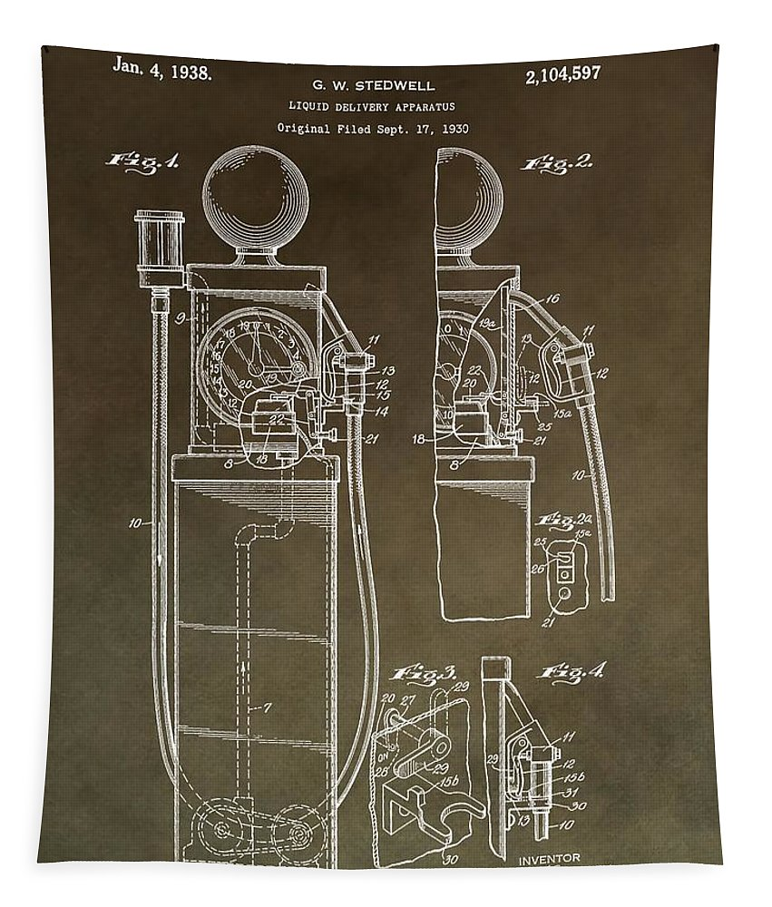 Vintage Gas Pump Patent Tapestry featuring the mixed media Vintage Gas Pump Patent by Dan Sproul