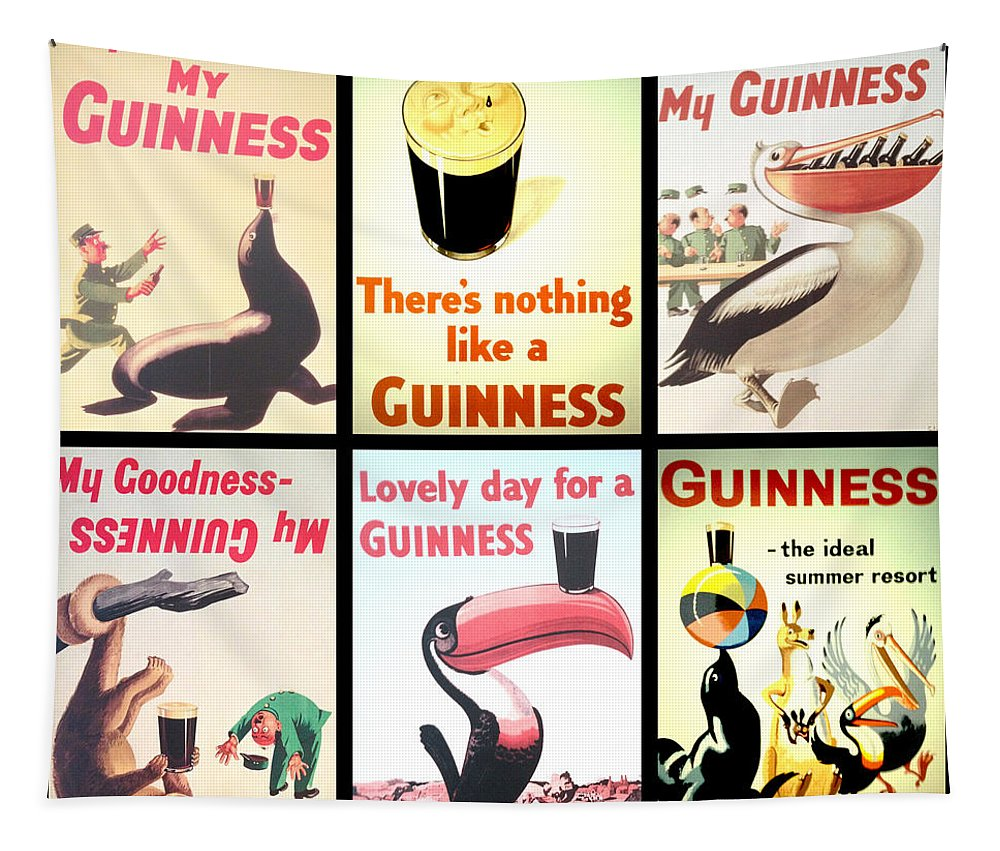 Guinness Collage Tapestry featuring the digital art Vintage Guinness by Georgia Fowler