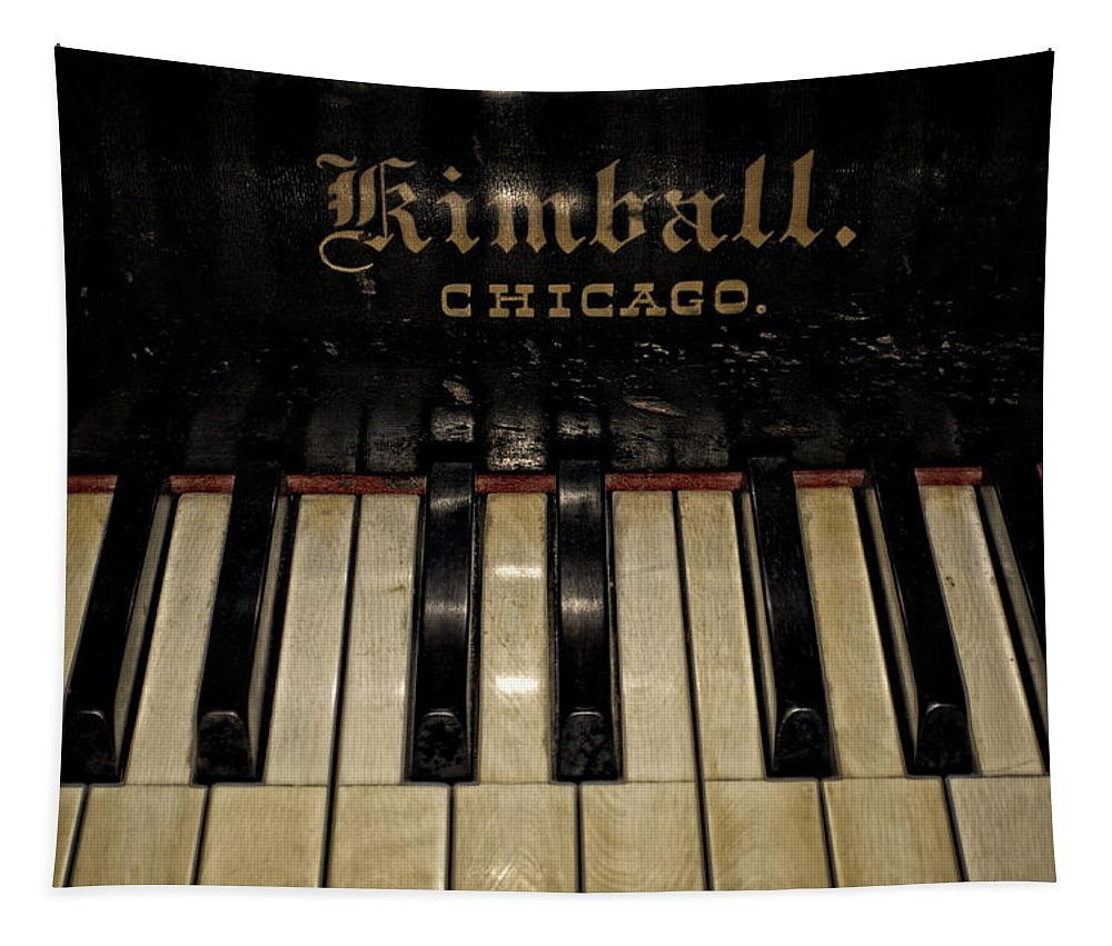 Upright Tapestry featuring the photograph Vintage Kimball Piano by Tikvah's Hope