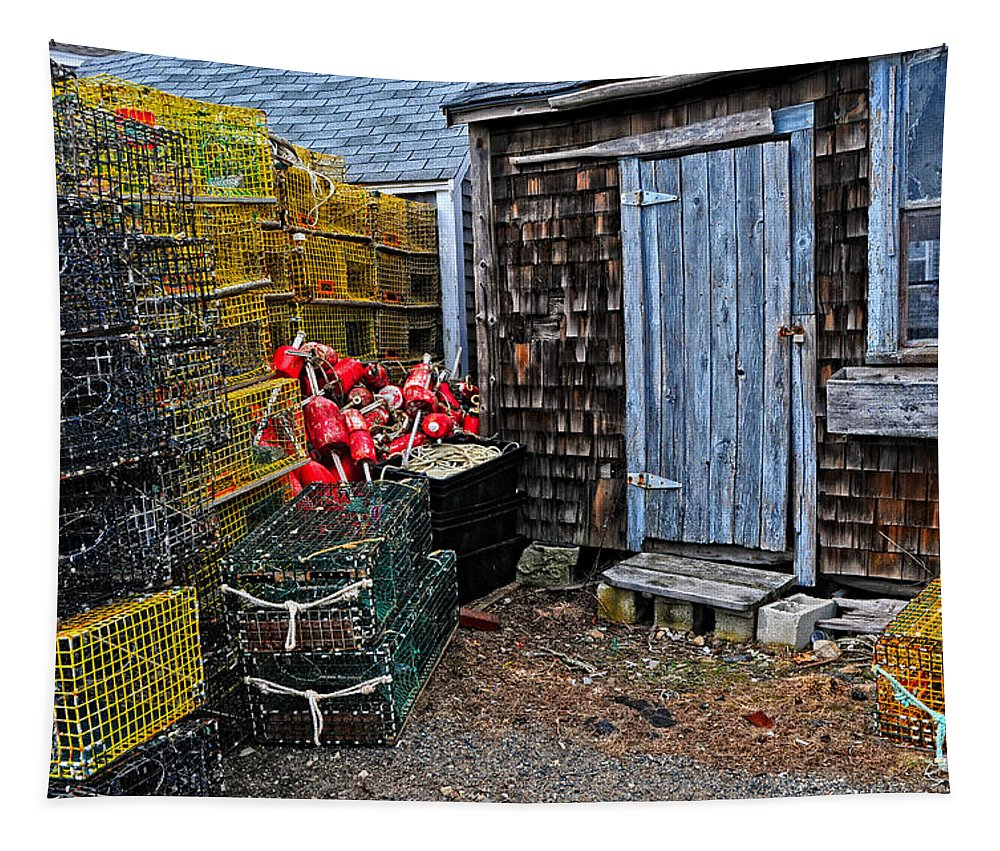 Seascape Tapestry featuring the photograph Vintage Lobster Shack by Mike Martin