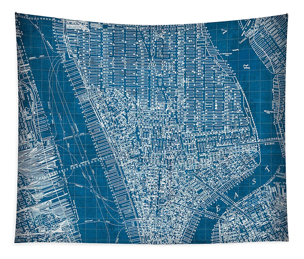 Vintage Tapestry featuring the mixed media Vintage Manhattan Street Map Blueprint by Design Turnpike