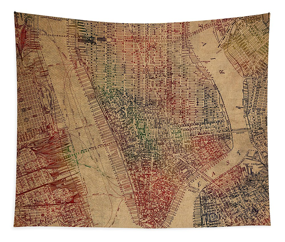 Vintage Tapestry featuring the mixed media Vintage Manhattan Street Map Watercolor On Worn Canvas by Design Turnpike