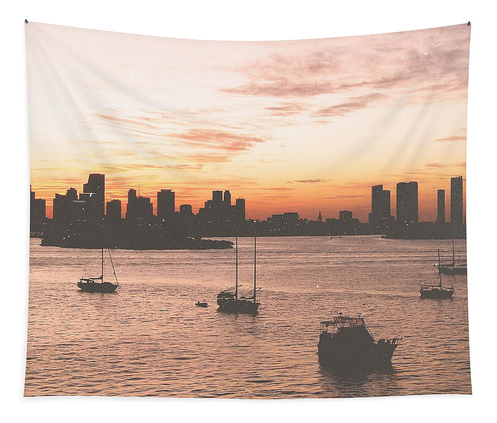 Miami Tapestry featuring the photograph Vintage Miami Skyline by Phil Perkins