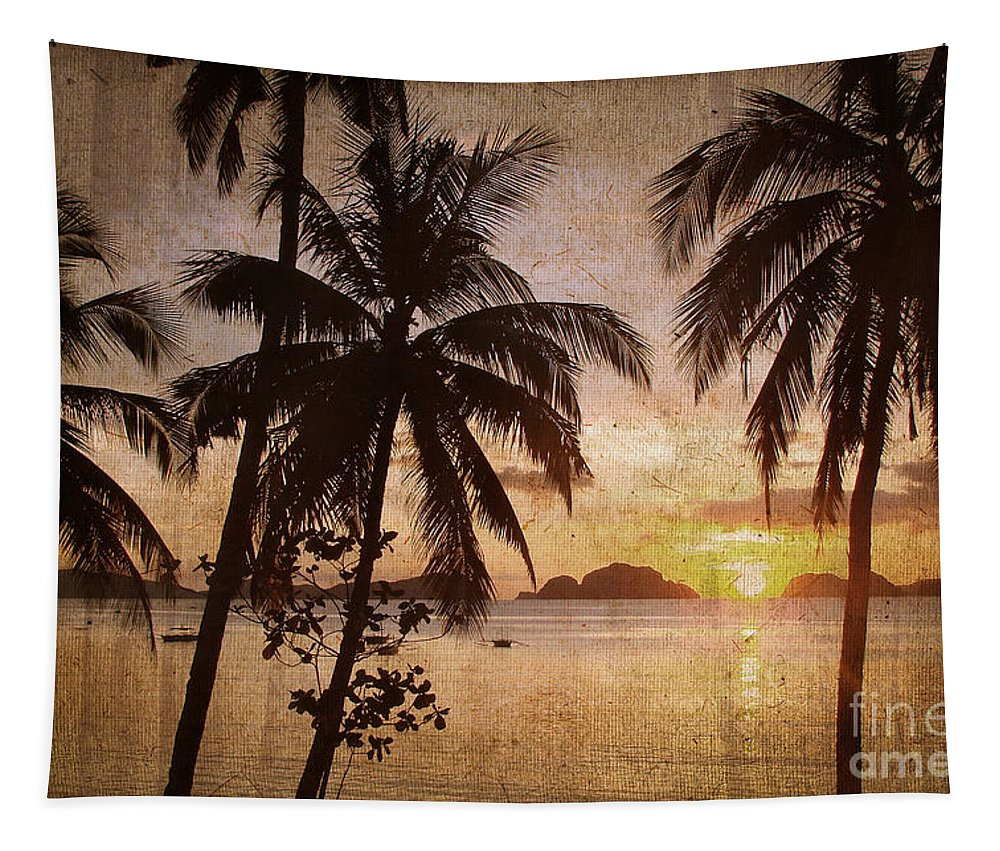 Palm Trees Tapestry featuring the photograph Vintage Philippines by Delphimages Photo Creations