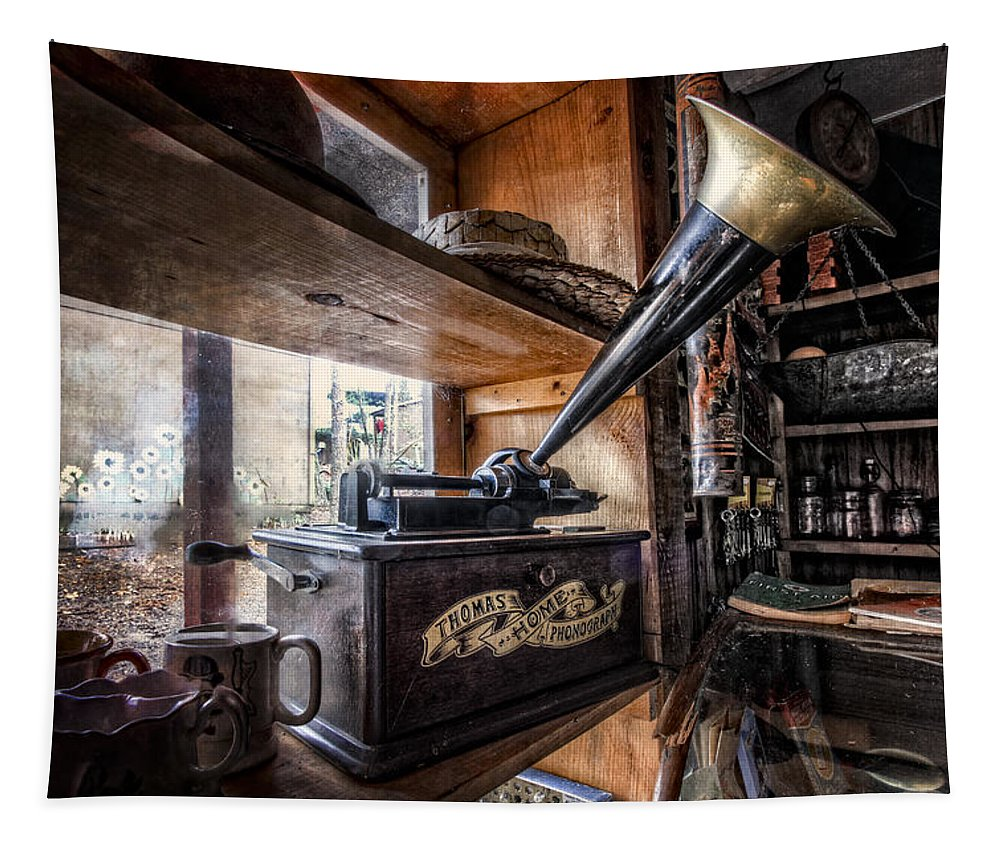 Appalachia Tapestry featuring the photograph Vintage Phonograph by Debra and Dave Vanderlaan